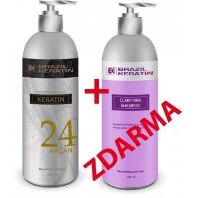 Akce Brazil Keratin Beauty Argan 24 h 1000 ml + Clarifying Shampoo 1000 ml zdarma