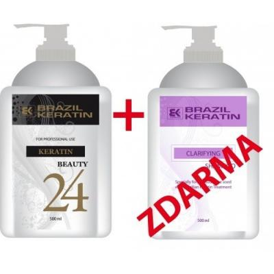 Akce Brazil Keratin Beauty Argan 24 h 500 ml + Clarifying Shampoo 500 ml zdarma