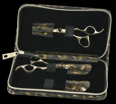 Olivia Garden Silk Cut Black & Gold Edition kadeřnické nůžky + efilační nůžky + pouzdro