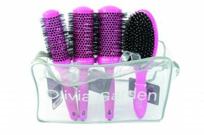 Sada kartáčů na vlasy Olivia Garden Thermal Brush Pink